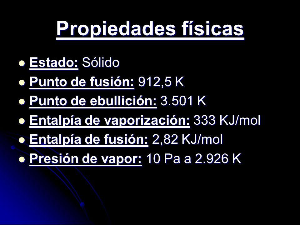 Otras propiedades Electronegatividad: 1,28 (Pauling) Electronegatividad: 1,28 (Pauling) Calor específico: 35,3 J/KgK Calor específico: 35,3 J/KgK Resistencia eléctrica: 0,685 m-1·Ω-1 Resistencia eléctrica: 0,685 m-1·Ω-1Ω Conductividad térmica: 6,74 W/(m.K) Conductividad térmica: 6,74 W/(m.K) Primer potencial de ionización: 584,7 kJ/mol Primer potencial de ionización: 584,7 kJ/mol (Todos los valores en el SI y en condiciones normales (0ºC y 1 atm)