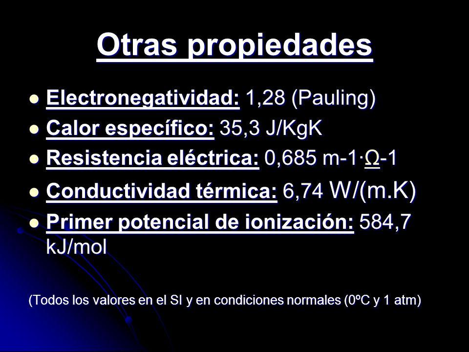 Otras propiedades Electronegatividad: 1,28 (Pauling) Electronegatividad: 1,28 (Pauling) Calor específico: 35,3 J/KgK Calor específico: 35,3 J/KgK Resi