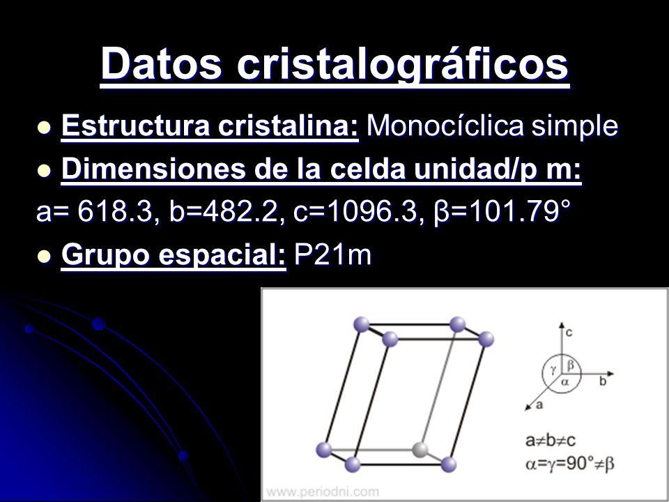 Datos cristalográficos Estructura cristalina: Monocíclica simple Estructura cristalina: Monocíclica simple Dimensiones de la celda unidad/p m: Dimensi