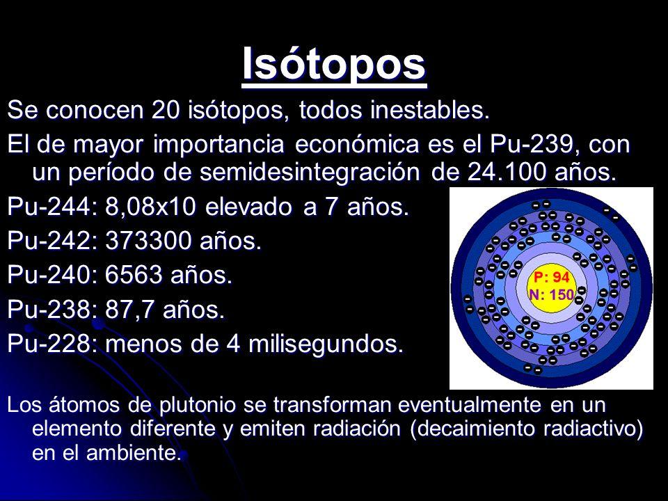 Isótopos Se conocen 20 isótopos, todos inestables. El de mayor importancia económica es el Pu-239, con un período de semidesintegración de 24.100 años