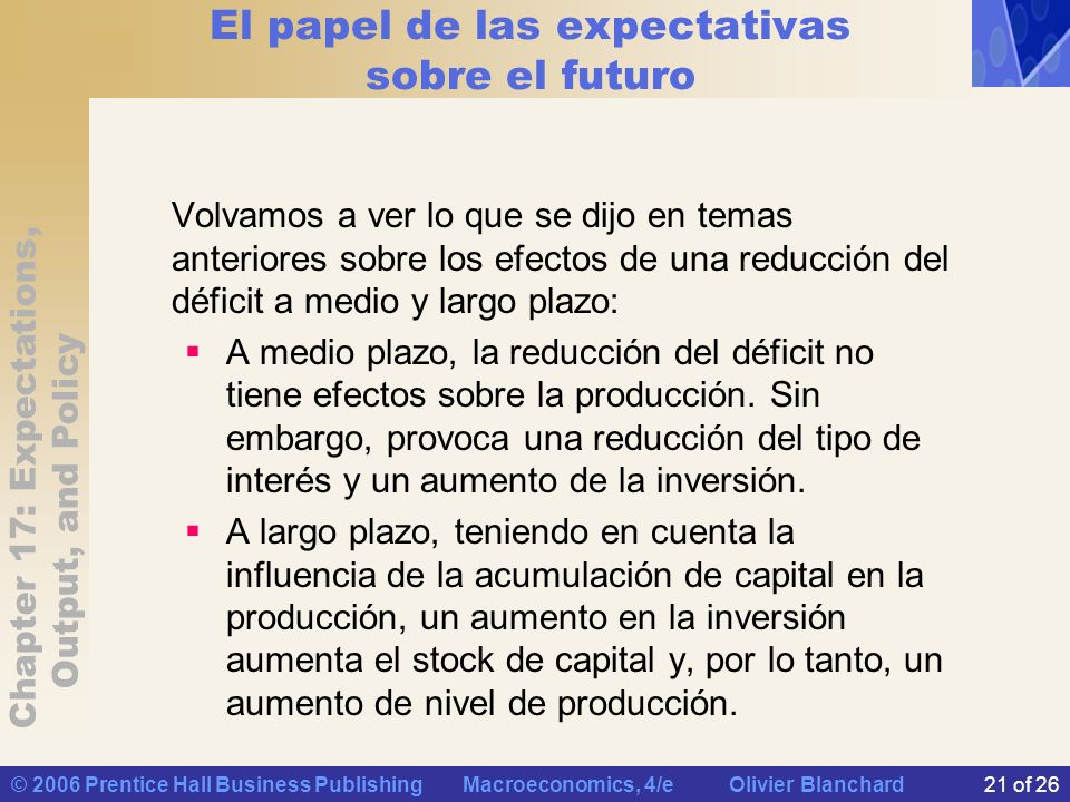 Chapter 17: Expectations, Output, and Policy © 2006 Prentice Hall Business Publishing Macroeconomics, 4/e Olivier Blanchard21 of 26 El papel de las ex
