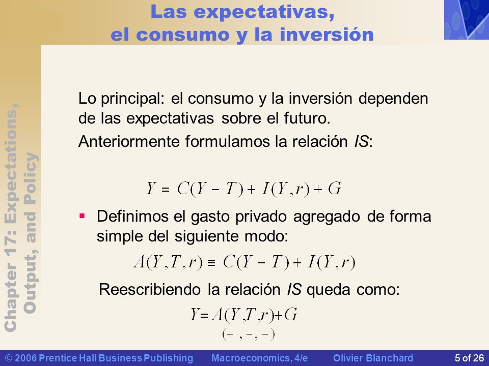 Chapter 17: Expectations, Output, and Policy © 2006 Prentice Hall Business Publishing Macroeconomics, 4/e Olivier Blanchard5 of 26 Las expectativas, el consumo y la inversión Lo principal: el consumo y la inversión dependen de las expectativas sobre el futuro.