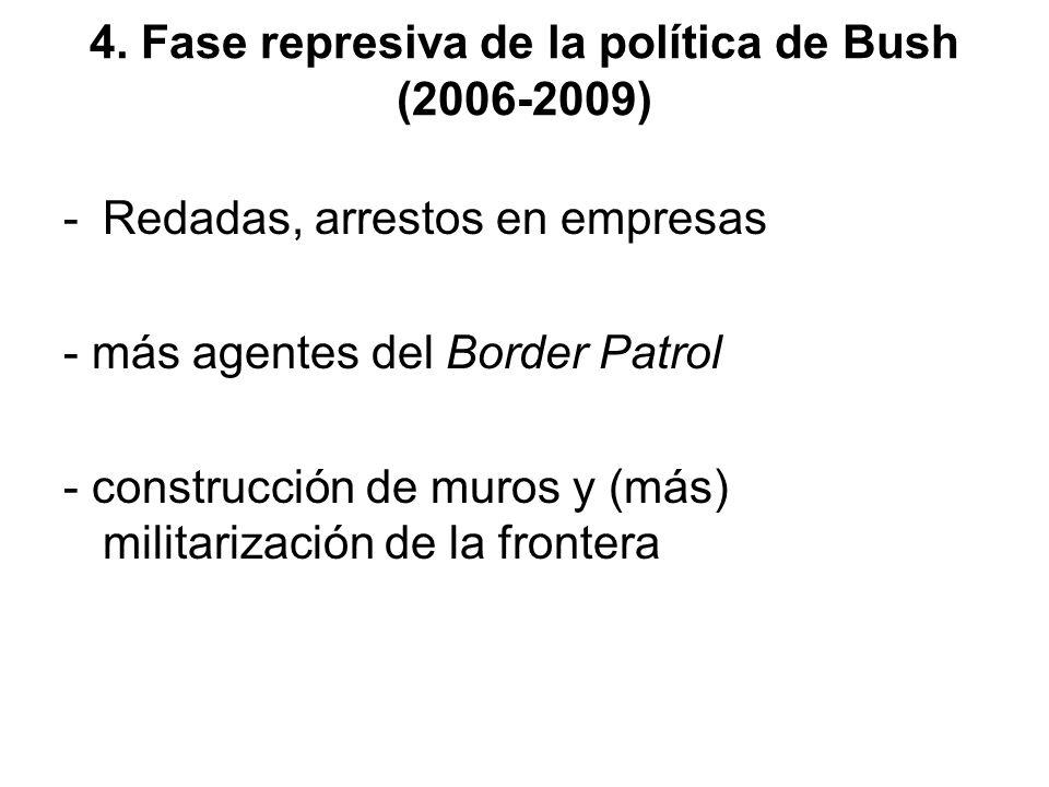 4. Fase represiva de la política de Bush (2006-2009) -Redadas, arrestos en empresas - más agentes del Border Patrol - construcción de muros y (más) mi