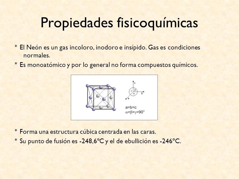 Propiedades fisicoquímicas ٭ El Neón es un gas incoloro, inodoro e insípido. Gas es condiciones normales. ٭ Es monoatómico y por lo general no forma c
