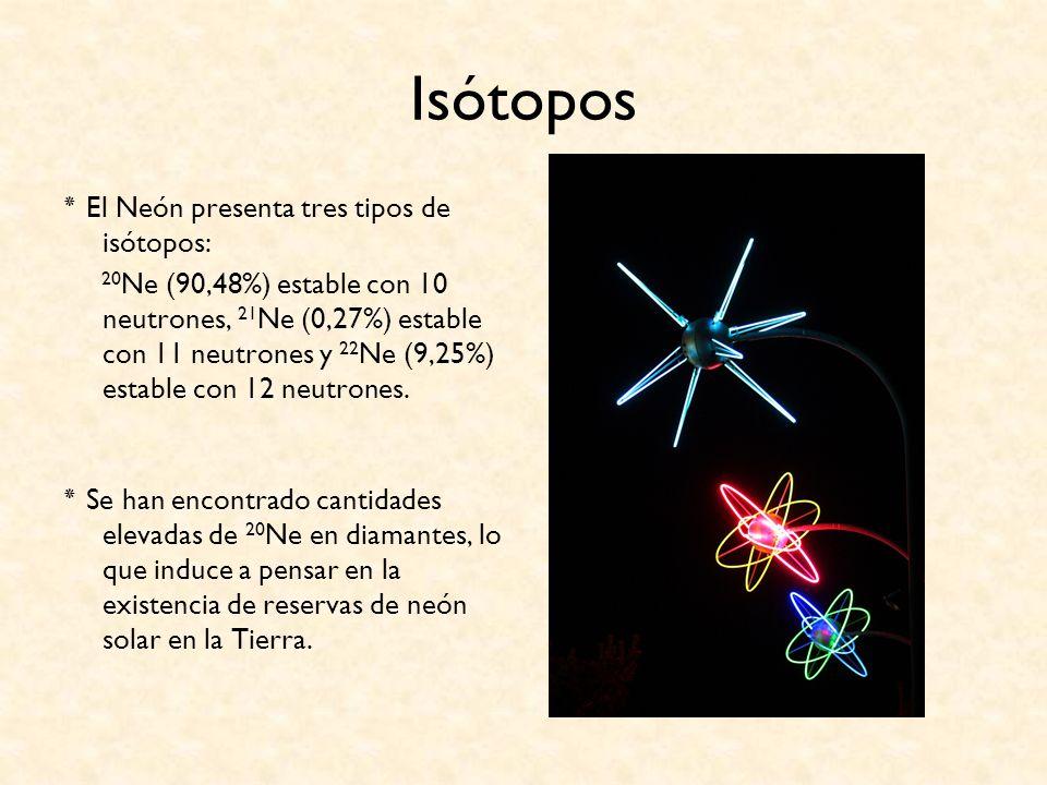 Isótopos ٭ El Neón presenta tres tipos de isótopos: 20 Ne (90,48%) estable con 10 neutrones, 21 Ne (0,27%) estable con 11 neutrones y 22 Ne (9,25%) es