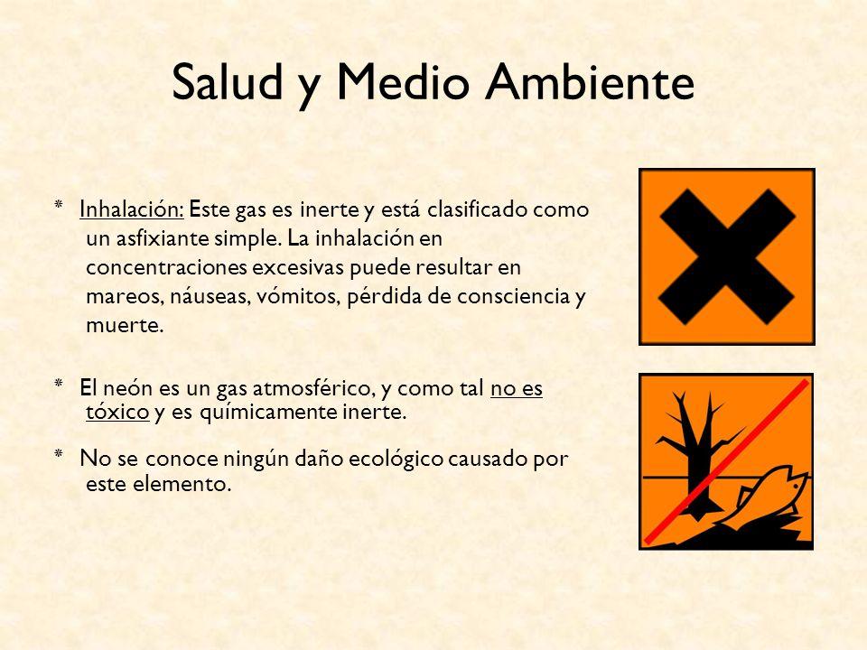 Salud y Medio Ambiente ٭ Inhalación: Este gas es inerte y está clasificado como un asfixiante simple. La inhalación en concentraciones excesivas puede
