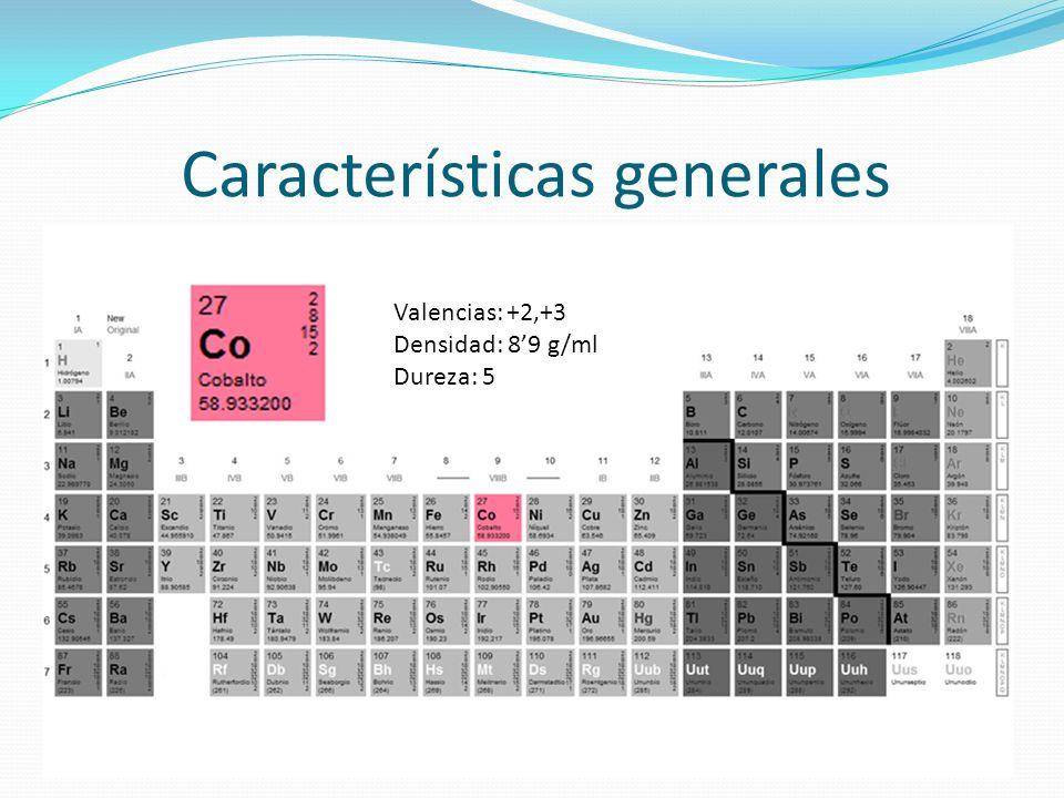 Características generales Valencias: +2,+3 Densidad: 89 g/ml Dureza: 5