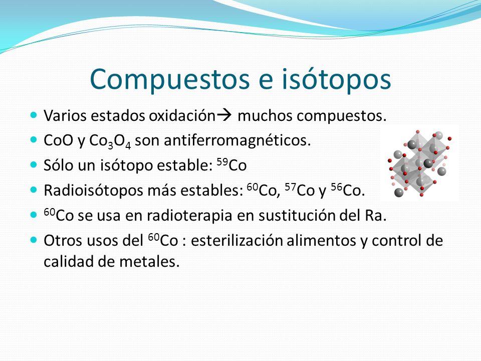 Compuestos e isótopos Varios estados oxidación muchos compuestos. CoO y Co 3 O 4 son antiferromagnéticos. Sólo un isótopo estable: 59 Co Radioisótopos