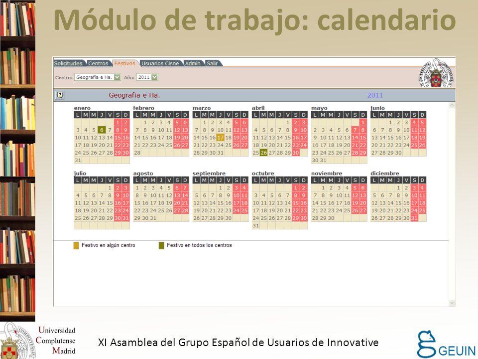 Módulo de trabajo: calendario XI Asamblea del Grupo Español de Usuarios de Innovative
