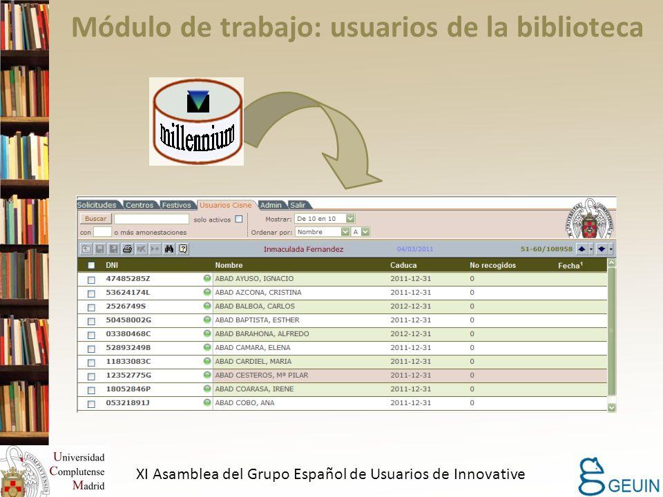 Módulo de trabajo: usuarios de la biblioteca XI Asamblea del Grupo Español de Usuarios de Innovative