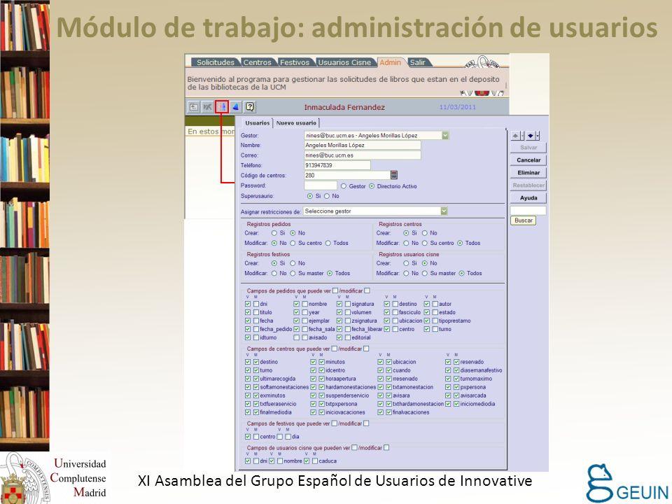 Módulo de trabajo: administración de usuarios XI Asamblea del Grupo Español de Usuarios de Innovative