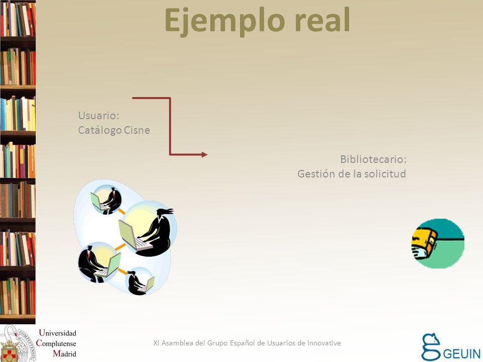 Ejemplo real Usuario: Catálogo Cisne Bibliotecario: Gestión de la solicitud XI Asamblea del Grupo Español de Usuarios de Innovative