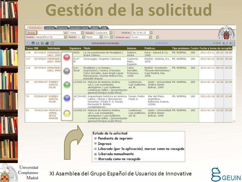 Gestión de la solicitud XI Asamblea del Grupo Español de Usuarios de Innovative