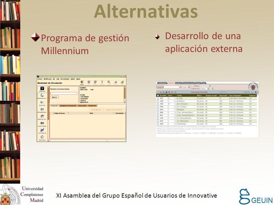 Alternativas Programa de gestión Millennium Desarrollo de una aplicación externa XI Asamblea del Grupo Español de Usuarios de Innovative