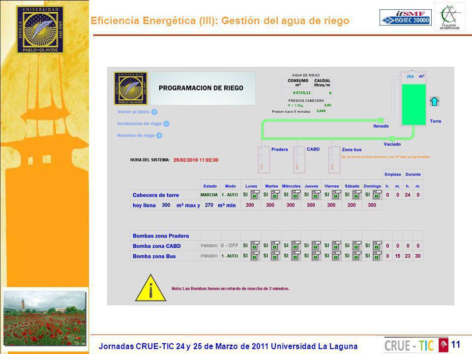 Eficiencia Energética (III): Gestión del agua de riego 11 Jornadas CRUE-TIC 24 y 25 de Marzo de 2011 Universidad La Laguna