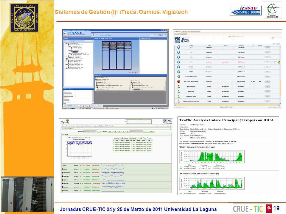 Sistemas de Gestión (I): iTracs. Osmius. Vigiatech 19 Jornadas CRUE-TIC 24 y 25 de Marzo de 2011 Universidad La Laguna