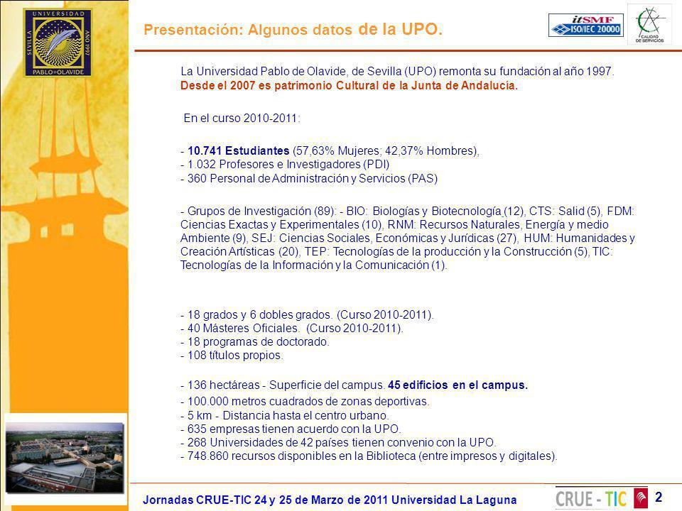 Presentación: Algunos datos de la UPO. Jornadas CRUE-TIC 24 y 25 de Marzo de 2011 Universidad La Laguna 2 La Universidad Pablo de Olavide, de Sevilla