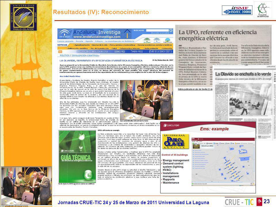 Resultados (IV): Reconocimiento 23 Jornadas CRUE-TIC 24 y 25 de Marzo de 2011 Universidad La Laguna
