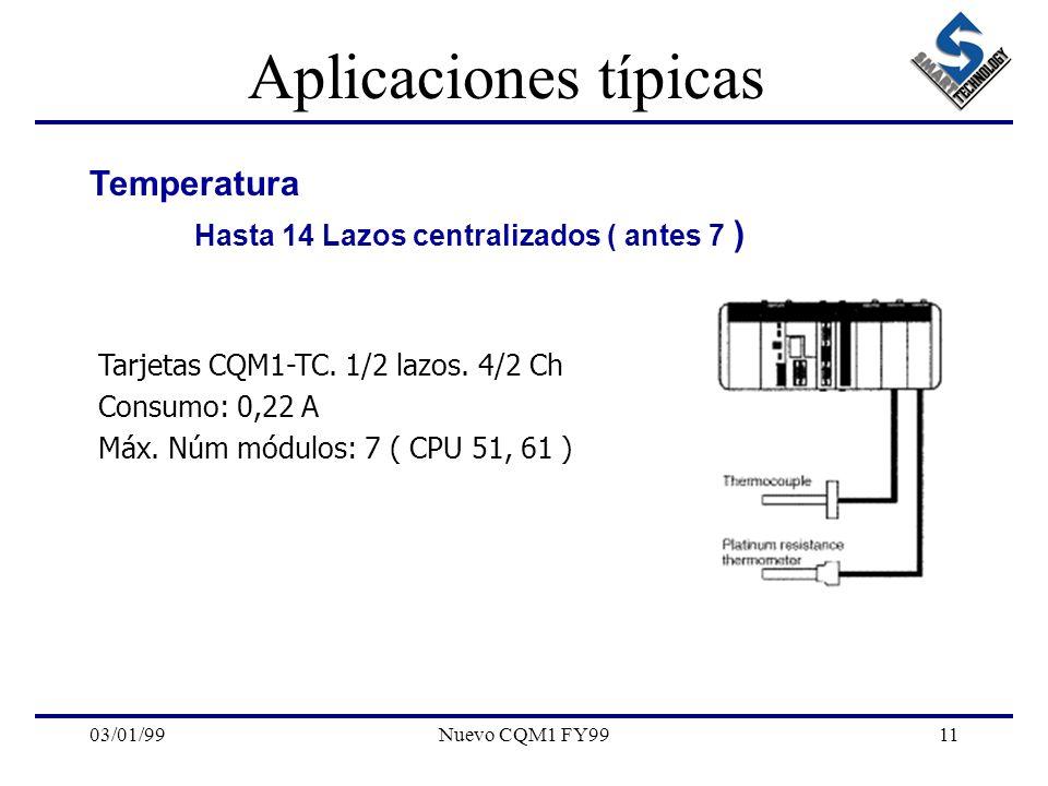 03/01/99Nuevo CQM1 FY9911 Aplicaciones típicas Temperatura Hasta 14 Lazos centralizados ( antes 7 ) Tarjetas CQM1-TC. 1/2 lazos. 4/2 Ch Consumo: 0,22