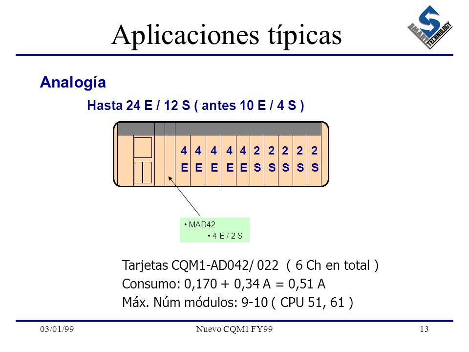 03/01/99Nuevo CQM1 FY9913 Aplicaciones típicas Analogía Hasta 24 E / 12 S ( antes 10 E / 4 S ) MAD42 4 E / 2 S Tarjetas CQM1-AD042/ 022 ( 6 Ch en tota