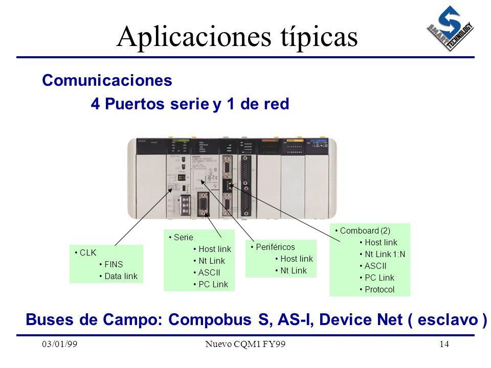 03/01/99Nuevo CQM1 FY9914 Aplicaciones típicas Comunicaciones 4 Puertos serie y 1 de red Periféricos Host link Nt Link Serie Host link Nt Link ASCII P