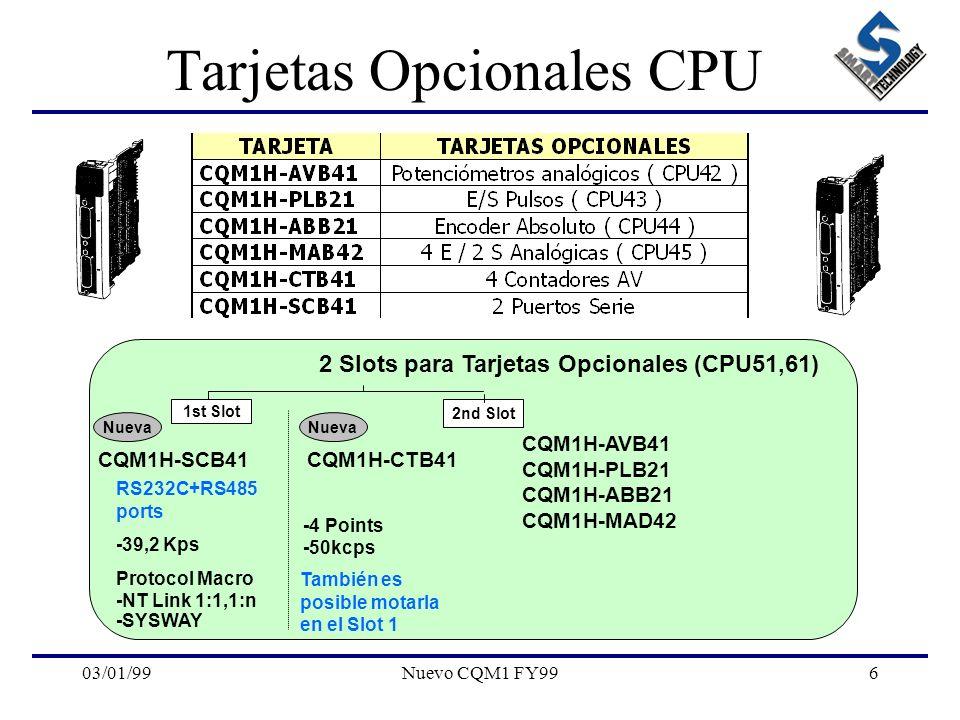 03/01/99Nuevo CQM1 FY996 Tarjetas Opcionales CPU 2 Slots para Tarjetas Opcionales (CPU51,61) RS232C+RS485 ports -39,2 Kps Protocol Macro -NT Link 1:1,