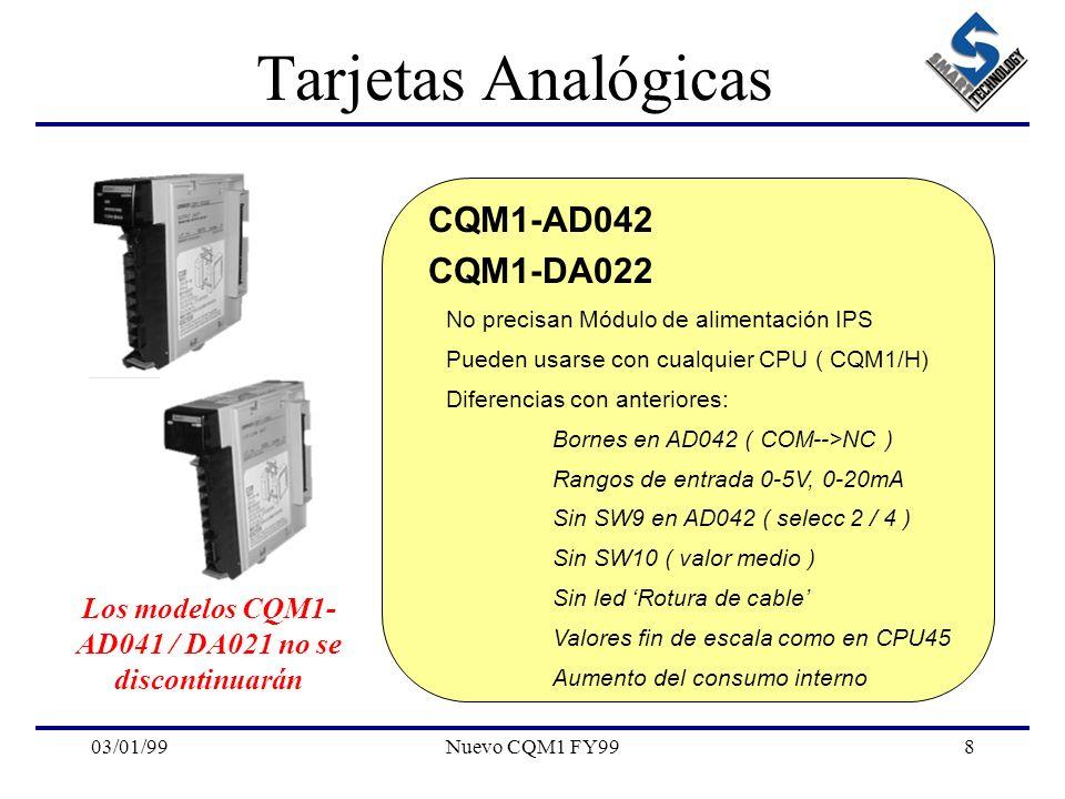 03/01/99Nuevo CQM1 FY998 Tarjetas Analógicas CQM1-AD042 CQM1-DA022 No precisan Módulo de alimentación IPS Pueden usarse con cualquier CPU ( CQM1/H) Di