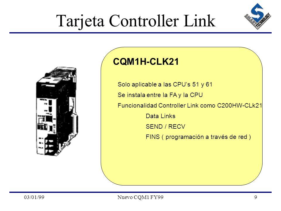 03/01/99Nuevo CQM1 FY999 Tarjeta Controller Link CQM1H-CLK21 Solo aplicable a las CPUs 51 y 61 Se instala entre la FA y la CPU Funcionalidad Controlle