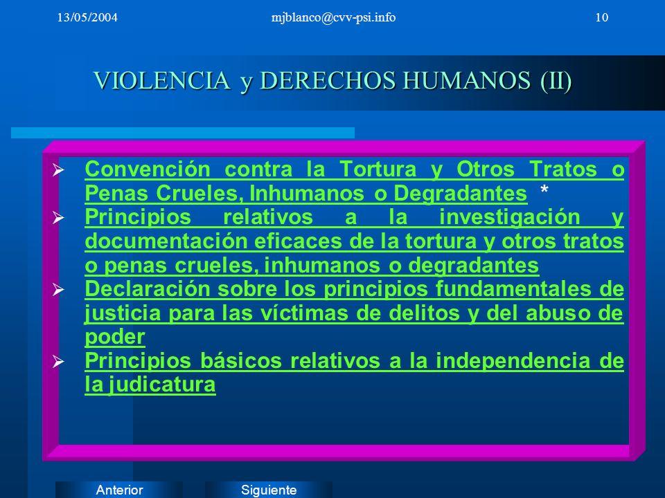 SiguienteAnterior 13/05/2004mjblanco@cvv-psi.info10 VIOLENCIA y DERECHOS HUMANOS (II) Convención contra la Tortura y Otros Tratos o Penas Crueles, Inh