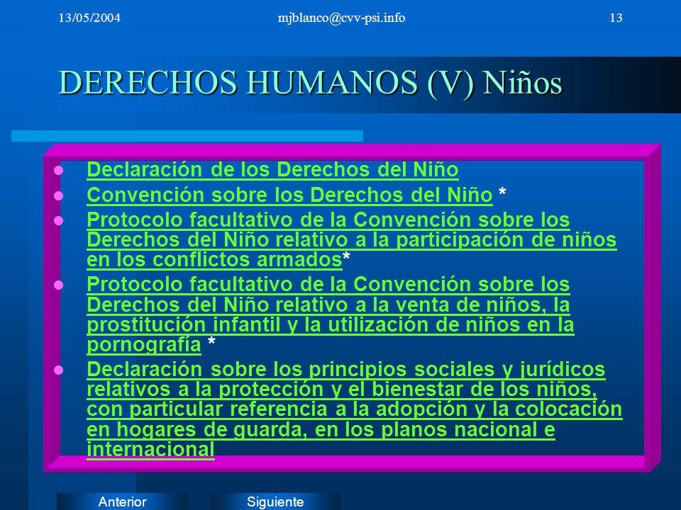 SiguienteAnterior 13/05/2004mjblanco@cvv-psi.info13 DERECHOS HUMANOS (V) Niños Declaración de los Derechos del Niño Convención sobre los Derechos del