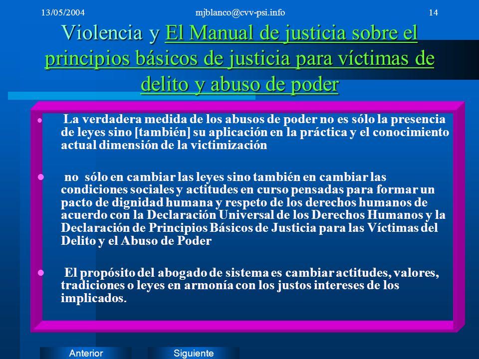 SiguienteAnterior 13/05/2004mjblanco@cvv-psi.info14 Violencia y El Manual de justicia sobre el principios básicos de justicia para víctimas de delito