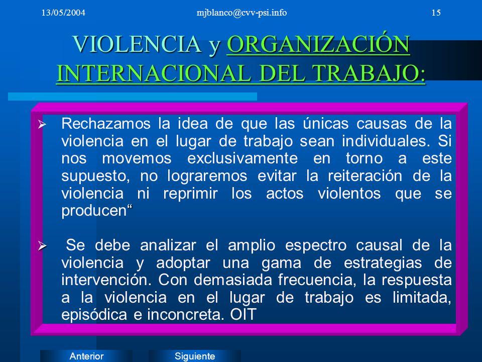 SiguienteAnterior 13/05/2004mjblanco@cvv-psi.info15 VIOLENCIA y ORGANIZACIÓN INTERNACIONAL DEL TRABAJO: ORGANIZACIÓN INTERNACIONAL DEL TRABAJO:ORGANIZ