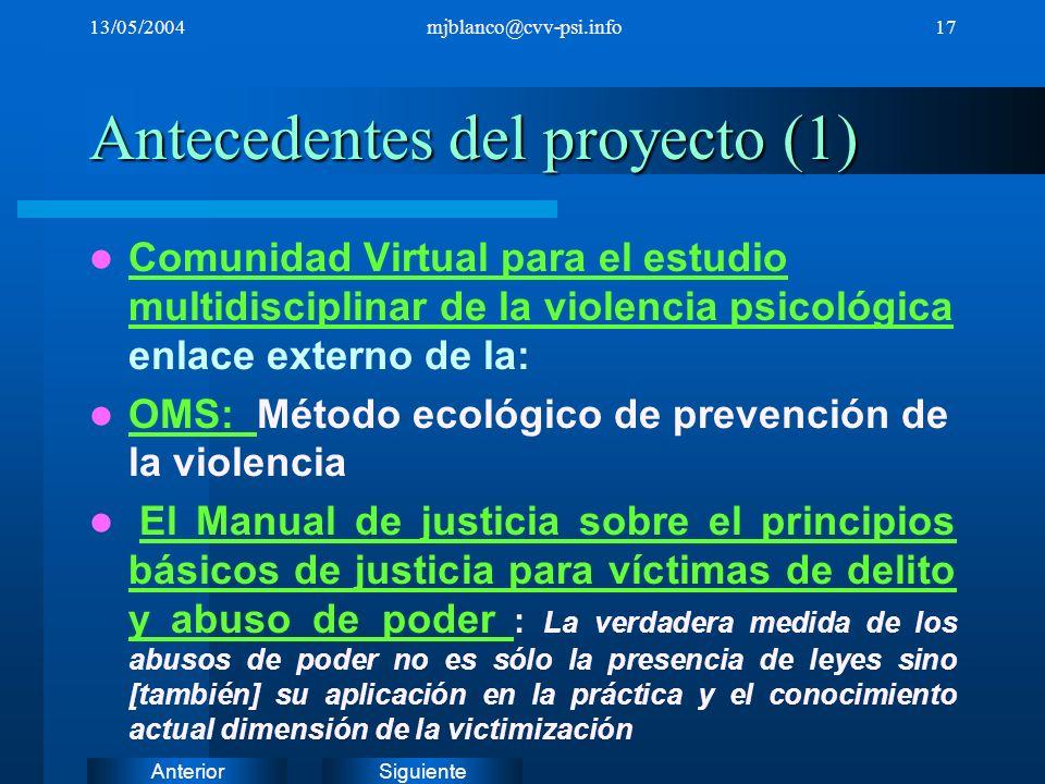 SiguienteAnterior 13/05/2004mjblanco@cvv-psi.info17 Antecedentes del proyecto (1) Comunidad Virtual para el estudio multidisciplinar de la violencia p