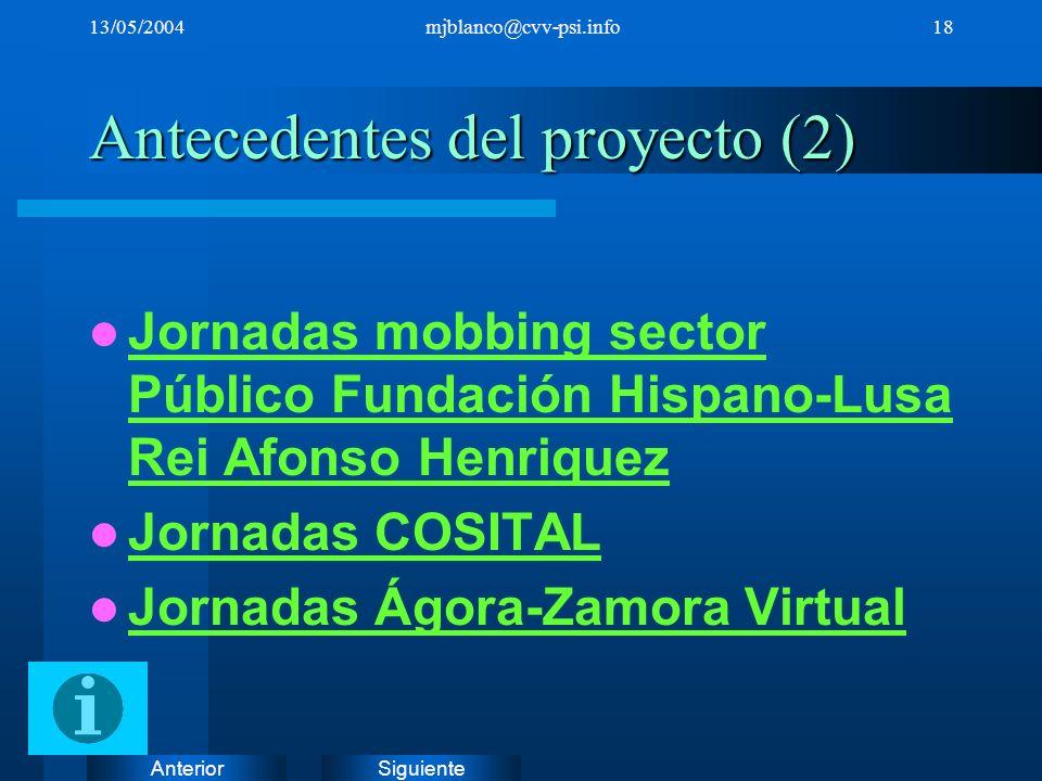 SiguienteAnterior 13/05/2004mjblanco@cvv-psi.info18 Antecedentes del proyecto (2) Jornadas mobbing sector Público Fundación Hispano-Lusa Rei Afonso He