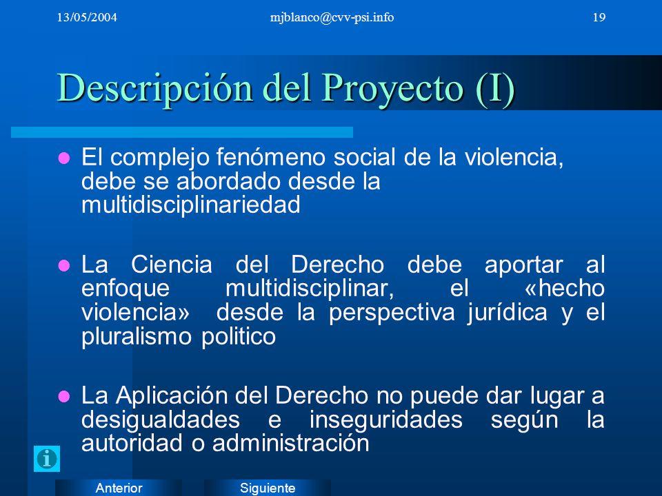 SiguienteAnterior 13/05/2004mjblanco@cvv-psi.info19 Descripción del Proyecto (I) El complejo fenómeno social de la violencia, debe se abordado desde l