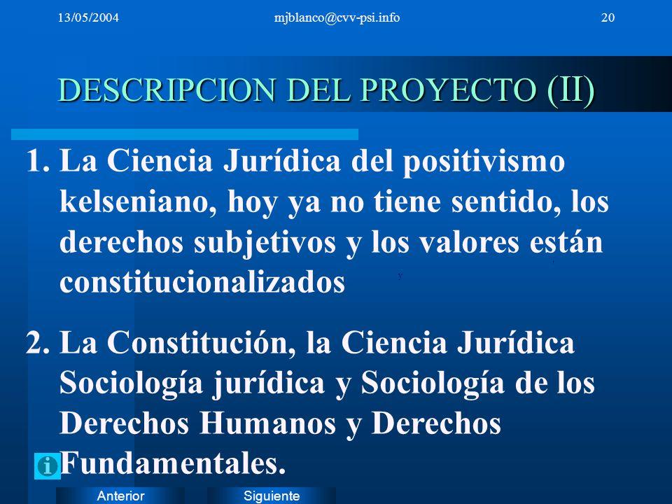 SiguienteAnterior 13/05/2004mjblanco@cvv-psi.info20 DESCRIPCION DEL PROYECTO (II), y 1.La Ciencia Jurídica del positivismo kelseniano, hoy ya no tiene
