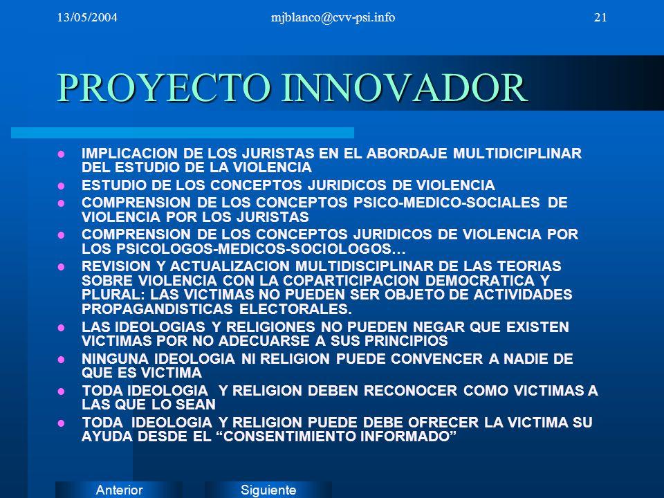 SiguienteAnterior 13/05/2004mjblanco@cvv-psi.info21 PROYECTO INNOVADOR IMPLICACION DE LOS JURISTAS EN EL ABORDAJE MULTIDICIPLINAR DEL ESTUDIO DE LA VI