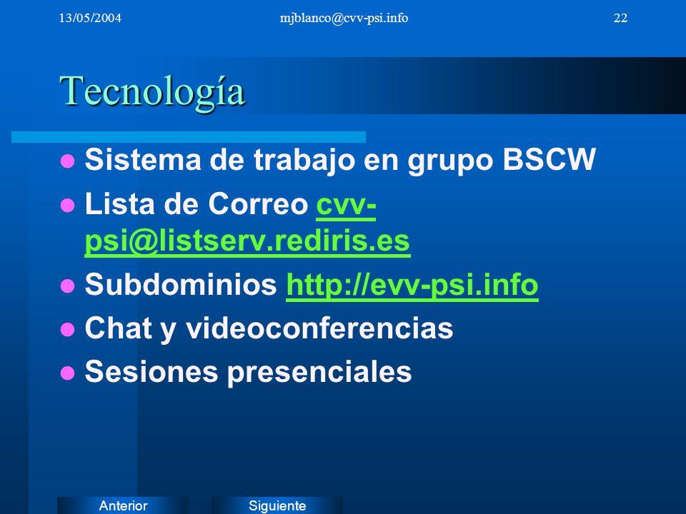 SiguienteAnterior 13/05/2004mjblanco@cvv-psi.info22Tecnología Sistema de trabajo en grupo BSCW Lista de Correo cvv- psi@listserv.rediris.escvv- psi@li