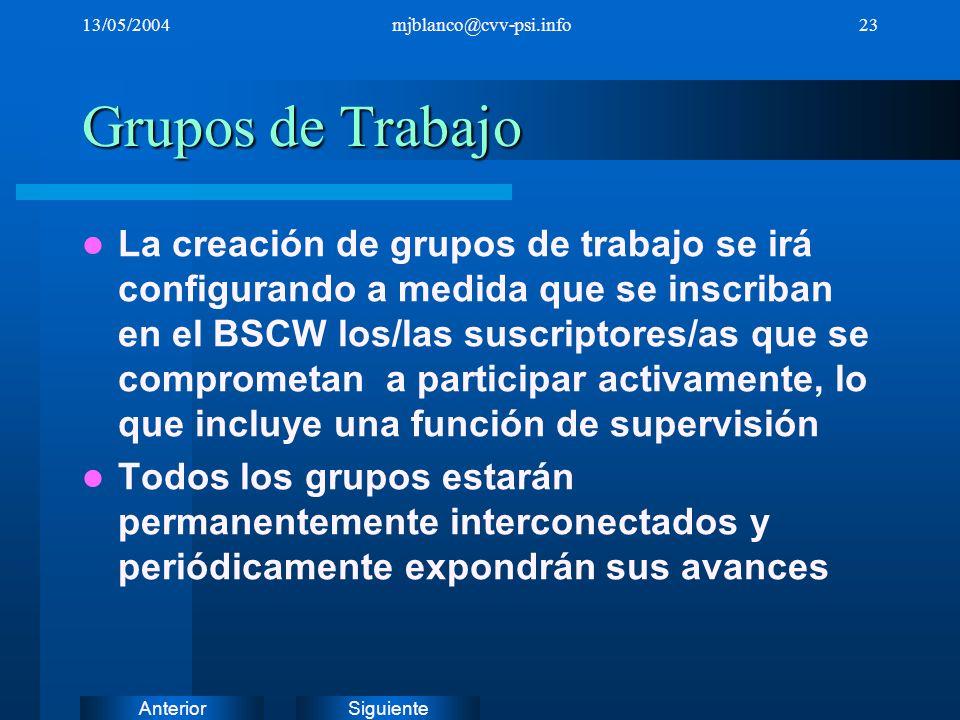 SiguienteAnterior 13/05/2004mjblanco@cvv-psi.info23 Grupos de Trabajo La creación de grupos de trabajo se irá configurando a medida que se inscriban e