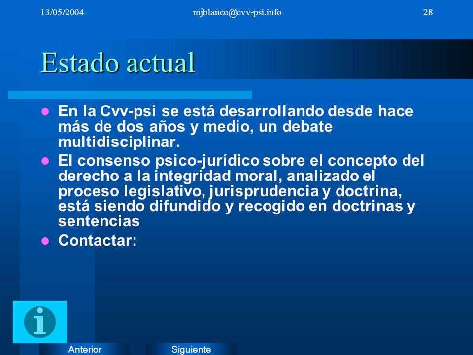 SiguienteAnterior 13/05/2004mjblanco@cvv-psi.info28 Estado actual En la Cvv-psi se está desarrollando desde hace más de dos años y medio, un debate mu