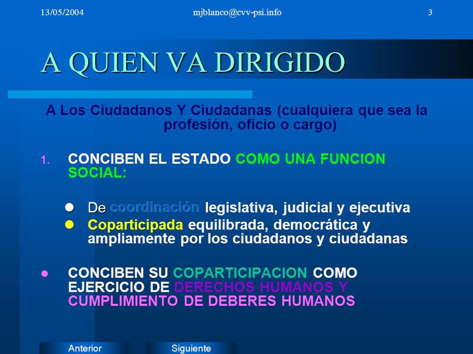 SiguienteAnterior 13/05/2004mjblanco@cvv-psi.info3 A QUIEN VA DIRIGIDO