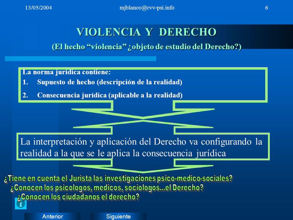 SiguienteAnterior 13/05/2004mjblanco@cvv-psi.info6 VIOLENCIA Y DERECHO (El hecho violencia ¿objeto de estudio del Derecho?) La norma jurídica contiene