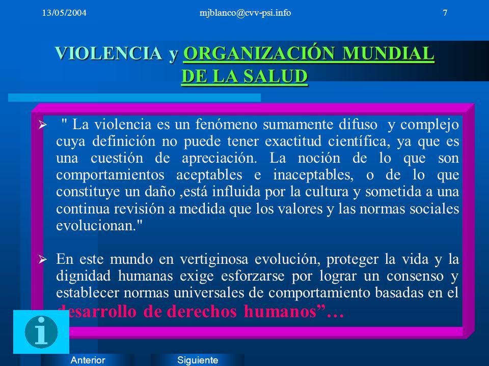 SiguienteAnterior 13/05/2004mjblanco@cvv-psi.info7 VIOLENCIA y ORGANIZACIÓN MUNDIAL DE LA SALUD ORGANIZACIÓN MUNDIAL DE LA SALUDORGANIZACIÓN MUNDIAL D
