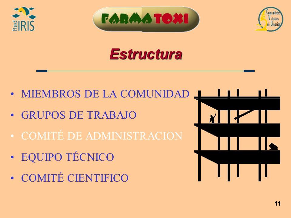 11 Estructura MIEMBROS DE LA COMUNIDAD GRUPOS DE TRABAJO COMITÉ DE ADMINISTRACION EQUIPO TÉCNICO COMITÉ CIENTIFICO