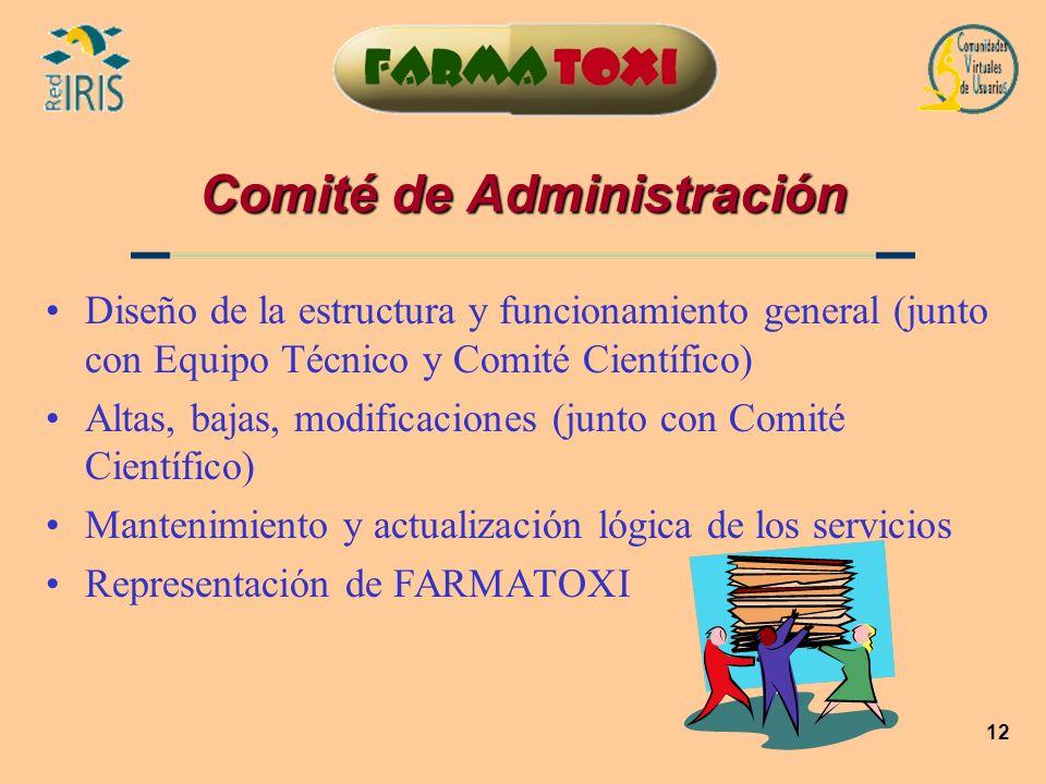 12 Comité de Administración Diseño de la estructura y funcionamiento general (junto con Equipo Técnico y Comité Científico) Altas, bajas, modificacion
