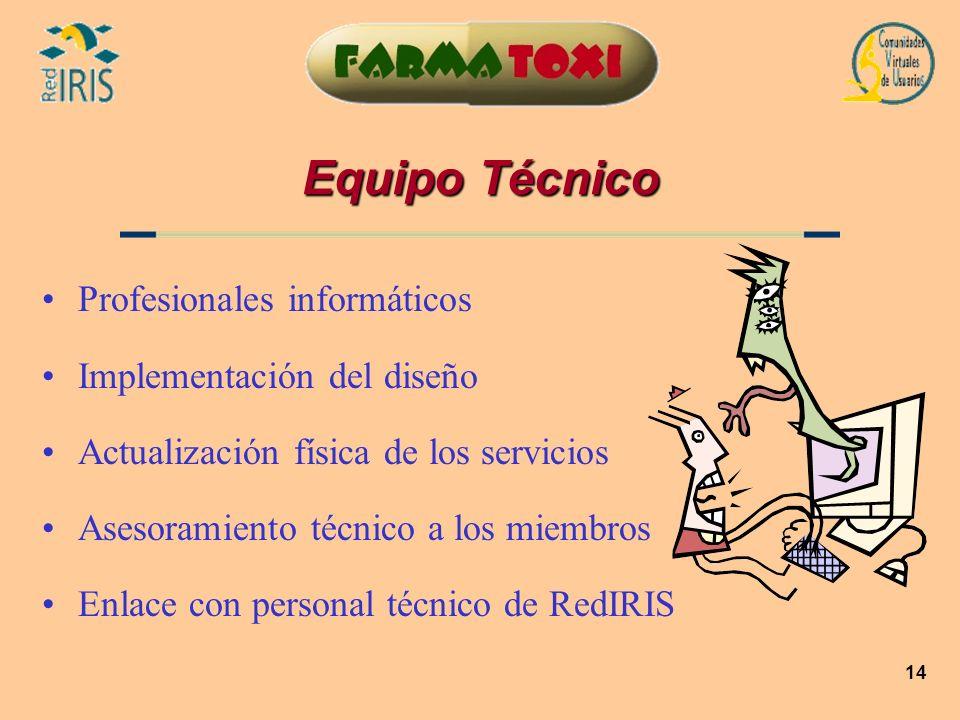 14 Equipo Técnico Profesionales informáticos Implementación del diseño Actualización física de los servicios Asesoramiento técnico a los miembros Enla