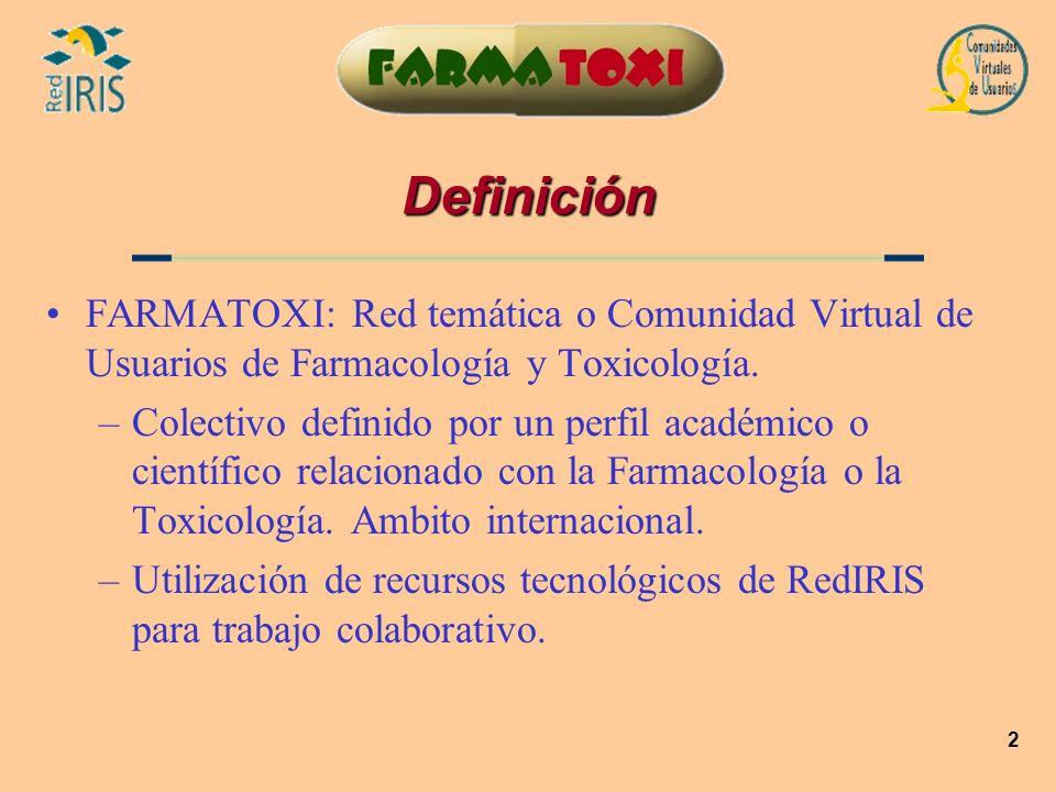 2 Definición FARMATOXI: Red temática o Comunidad Virtual de Usuarios de Farmacología y Toxicología. –Colectivo definido por un perfil académico o cien