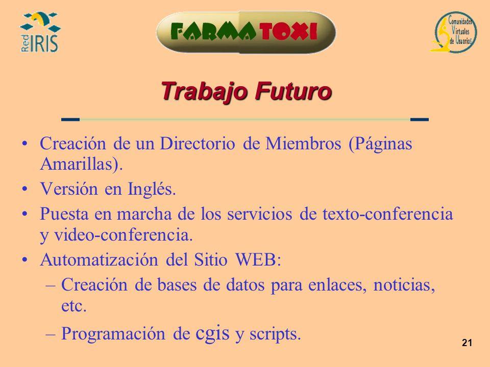21 Trabajo Futuro Creación de un Directorio de Miembros (Páginas Amarillas). Versión en Inglés. Puesta en marcha de los servicios de texto-conferencia