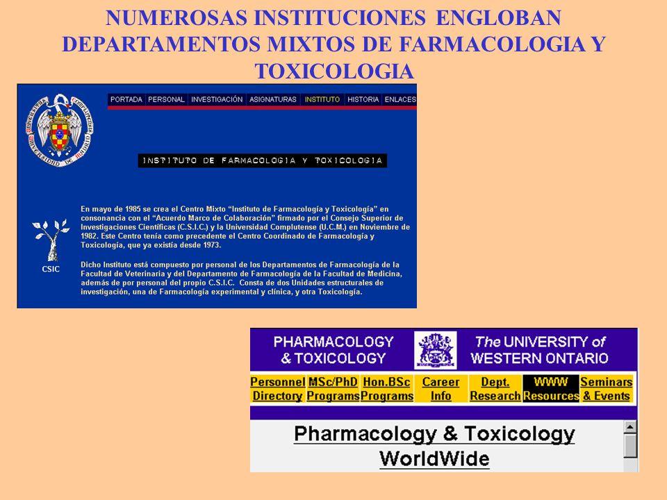 NUMEROSAS INSTITUCIONES ENGLOBAN DEPARTAMENTOS MIXTOS DE FARMACOLOGIA Y TOXICOLOGIA