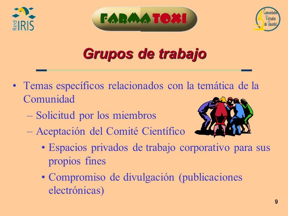 9 Grupos de trabajo Temas específicos relacionados con la temática de la Comunidad –Solicitud por los miembros –Aceptación del Comité Científico Espac